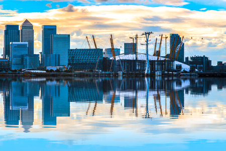London cityscape with Canary Wharf at sunset