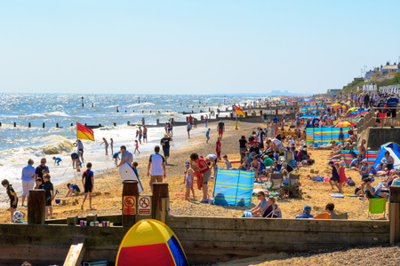 southwold: Southwold, UK - August 17, 2016 - Crowded beach at Southwold Editorial