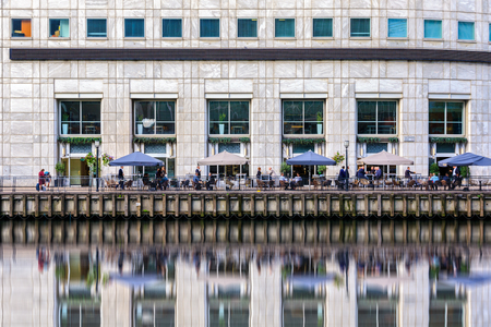 Waterfront bar in Canary Wharf, financial district of London Editorial