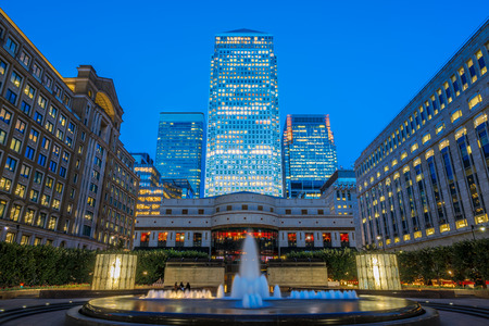 Illuminated office buildings in Canary Wharf, financial district of London