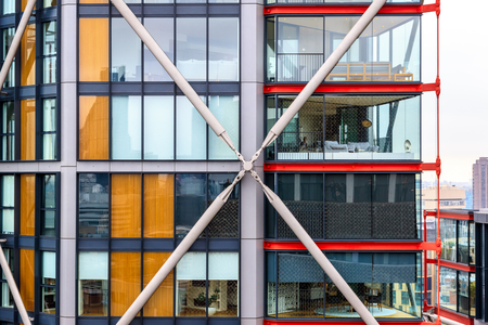 futurist: London, UK - September 20, 2016 - Exterior of newly developed apartments, known as NEO Bankside, next to Tate Modern. Editorial