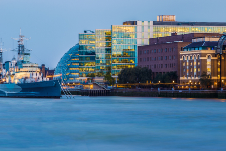 London cityscape including City Hall seen from river Thames Stock Photo