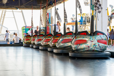brighton: Brighton, UK - September 13, 2016 - Dodgems at the funfair on Brighton Pier Editorial