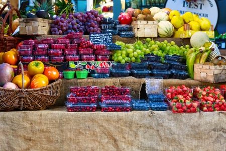 Fresh fruits on display at Borough Market, London Stock Photo