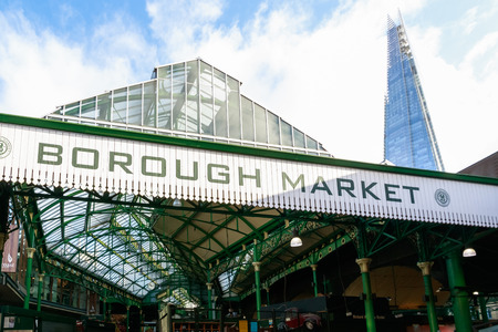 London, UK - November 7, 2016 - Borough Market with The Shard building in the background
