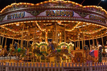 Merry-go-round in Winter Wonderland, a Christmas fair in London