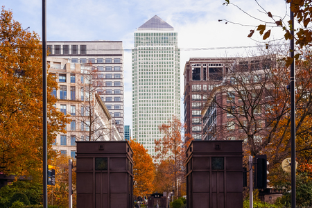 Canary Wharf in London seen from Westferry Circus Stock Photo