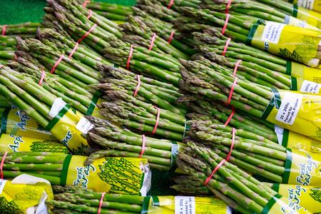 Fresh asparagus on display at Borough Market in London Editorial