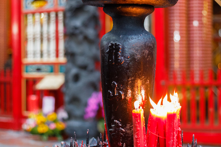 formosa: Worship with red candles at Lungshan Temple of Manka in Taiwan