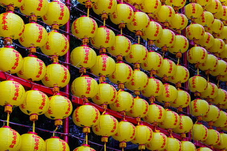 formosa: Chinese lanterns displayed at Lungshan Temple of Manka in Taiwan