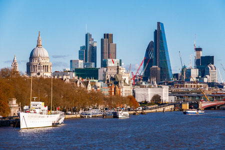 City of London seen from Waterloo Bridge on a sunny day