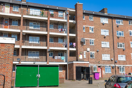 Council housing block in East London Stock Photo - 85081248