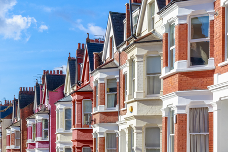 Row of typical English terraced houses in West Hampstead, London Editorial