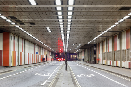 Beech Street tunnel in Barbican, City of London
