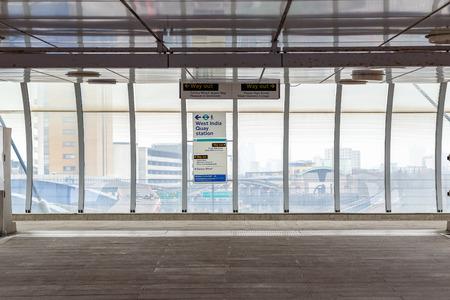 London, UK - May 24, 2017 - Poplar Docklands Light Railway station exit