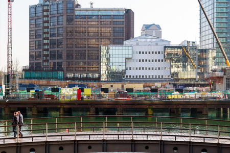 London, UK - May 24, 2017 - New development construction site on Bank Street at South Dock in Canary Wharf