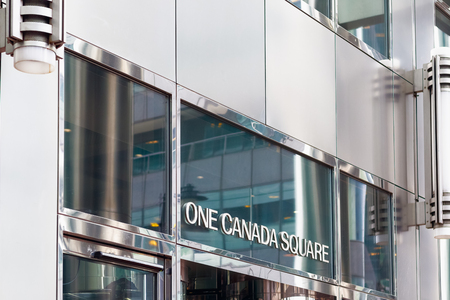 London, UK - May 24, 2017 - Sign of One Canada Square, a skyscraper in Canary Wharf