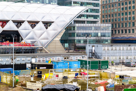 London, UK - May 24, 2017 - Construction site at Crossrail Place in Canary Wharf with the station in the background