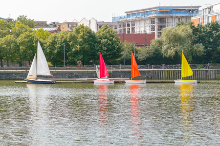Moored sailing dinghies at Shadwell Basin in London