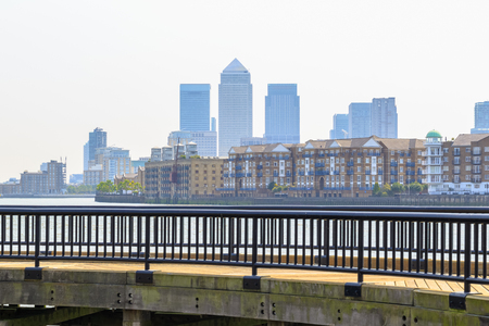 Skyscrapers in Canary Wharf seen from Thames Path along Shadwell Basin in London Reklamní fotografie