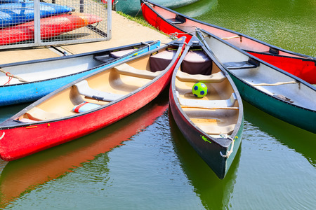 Touring canoes moored at Shadwell Basin in London