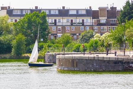 Moored sailing dinghy at Shadwell Basin in London