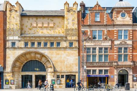London, UK - June 21, 2017 - Facade of Whitechapel gallery and Aldgate East Station in East London Redactioneel