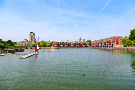 Panorama of Shadwell Basin, part of the London Docks, providing space for summer activities