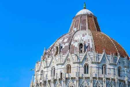 Dome of the Pisa Baptistery at Piazza dei Miracoli (Square of Miracles) in Italy