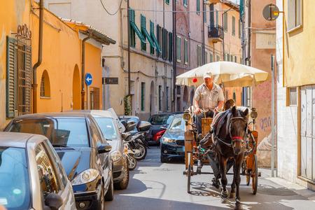 Pisa, Italy - June 26, 2019 - Coachman driving a horse drawn cart on a narrow city street in Pisa Redactioneel