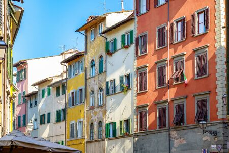 Facade of residential buildings in Florence, Italy