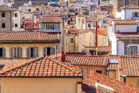Cityscape of Florence in Italy, featuring red terracotta roofs Stockfoto