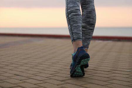 young girl on a morning run 免版税图像