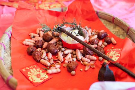 omen: chinese wedding stuffs of good omen Stock Photo