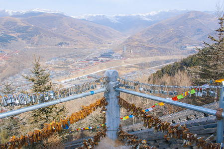 willing: view from Mountain Wutai, many locks on the rail