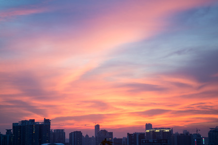red pink: flaming cloud and Guangzhou city skyline