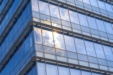 reflect: sunlight reflect on the glass wall