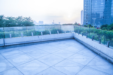 glass fence: square among the modern buildings