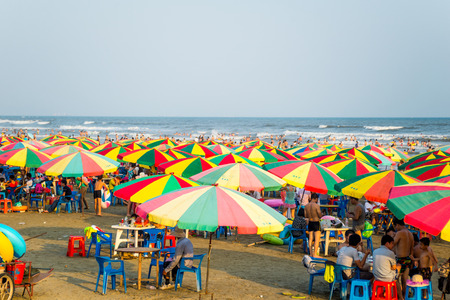 sunshades: mass sunshades on the beach while holiday