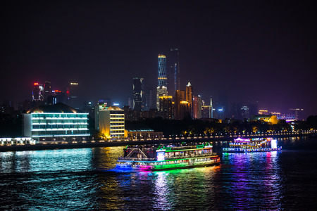 cbd: night view of Pearl River and Guangzhou CBD buildings