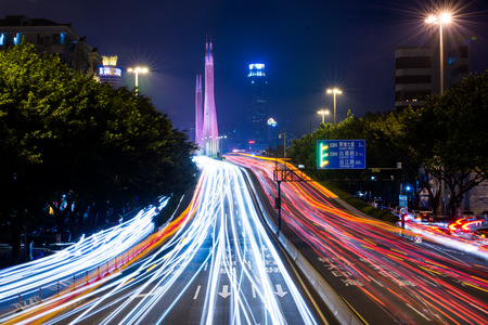 long exposure of Guangzhou night traffic scene