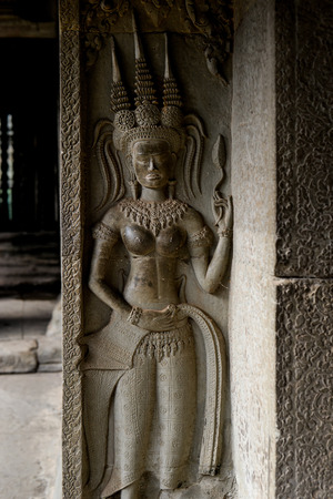 apsara: apsara sculpture on the column