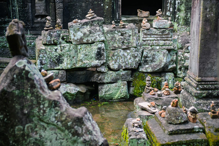 linga: temple relic in Angkor Wat area Stock Photo