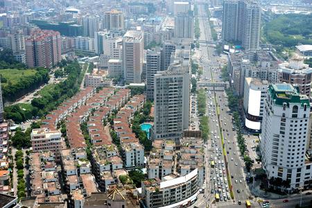 aerial view of Dongguan urban district