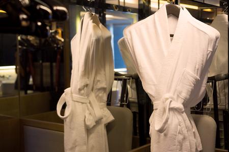 hotel: bathrobe in hotel Stock Photo