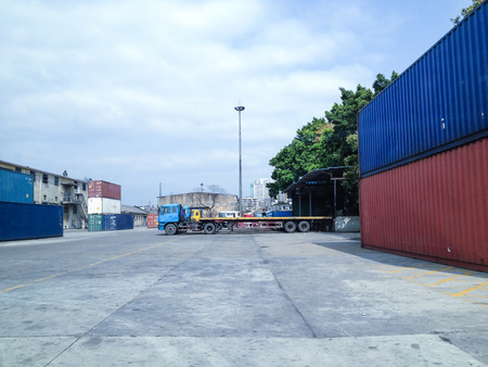 dockyard: containers in the dockyard Stock Photo