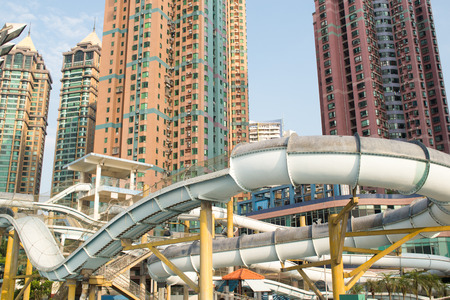 water park: slides in the water park