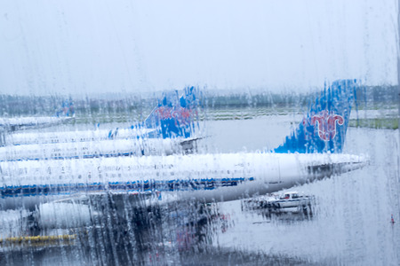 rainy day at the airport