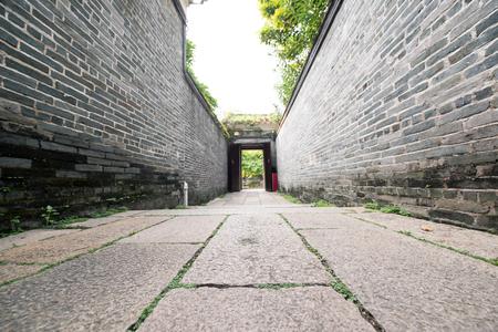 granite floor: traditional Chinese lane, brick walls and granite floor