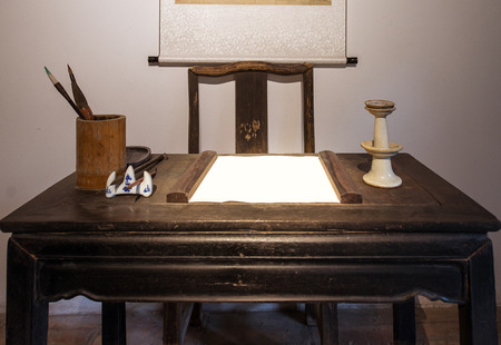 old furniture: tradional chinese study equipments and furniture Stock Photo